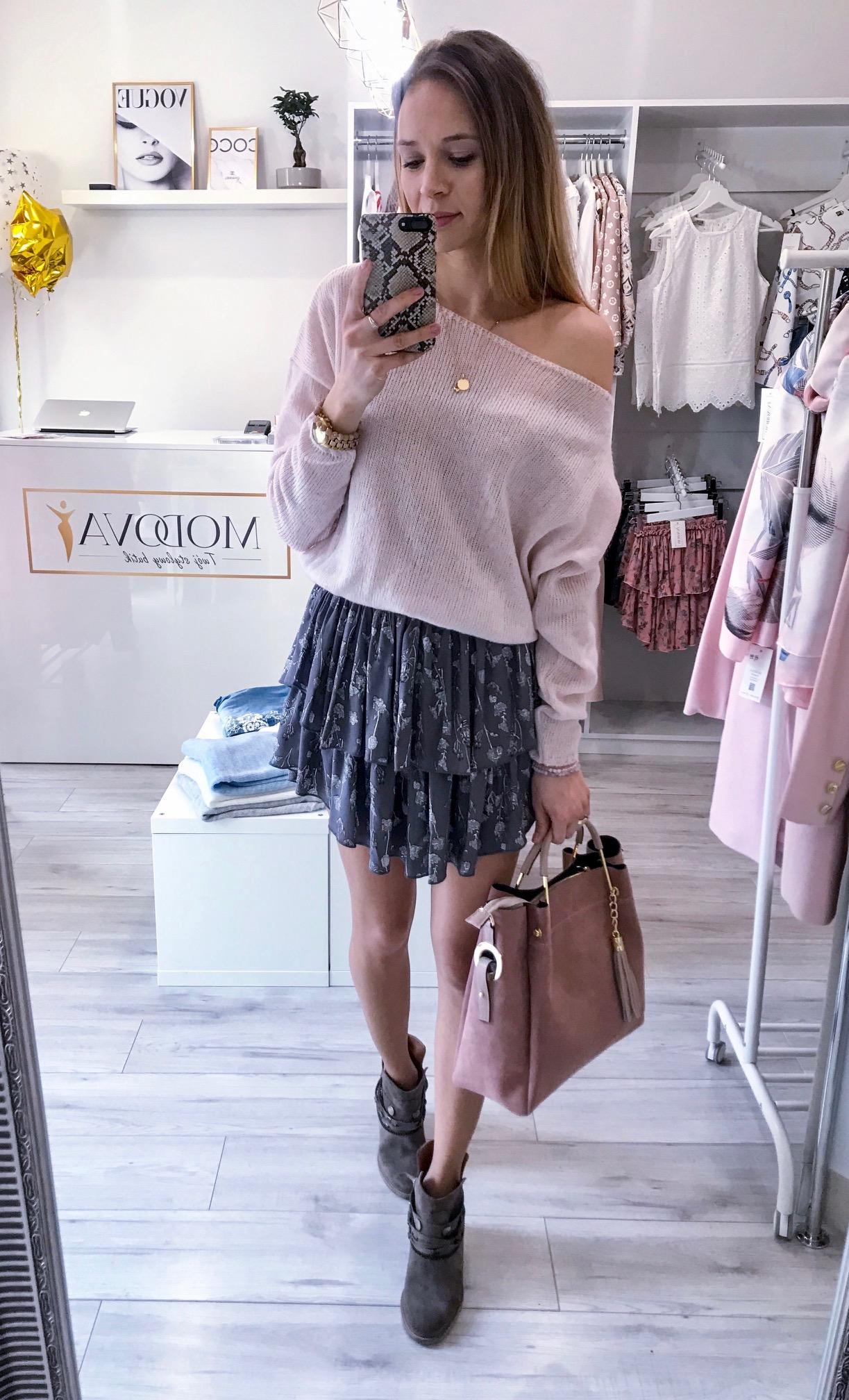 Dodatkowe Sweterek z opadającym ramieniem Viola pudrowy róż - MODOVA | Twój OD78